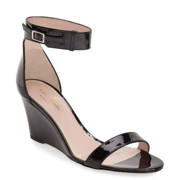 dacc9c016529 Kate Spade Ronia Wedge Sandals Patent Leather
